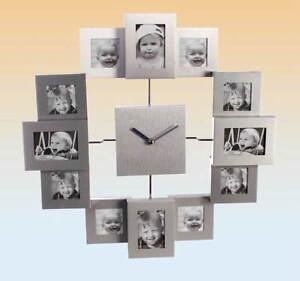 Aluminium Wanduhr mit 12 Fotorahmen Bilderrahmen Bilderuhr