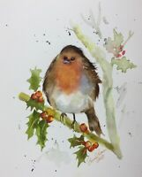 Robin in Holly Original Watercolour Painting by Diane Antone 8 x 10 inches