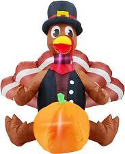 4ft Inflatable Turkey Pumpkin Thanksgiving Outdoor LED Lights for Home Garden