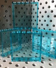 Lego 1x6x5 Trans Blue Clear Wall Panel Window Element House Door New Lot Of 4