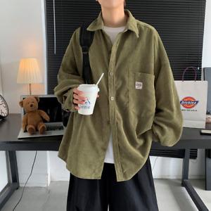 2021 Men's Corduroy Long-sleeved Shirt Autumn Korean Shirt Black