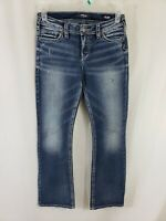Silver Jeans Tuesday Mid Boot Cut Womens Blue Denim Size 28 x 31 Dark Wash EUC