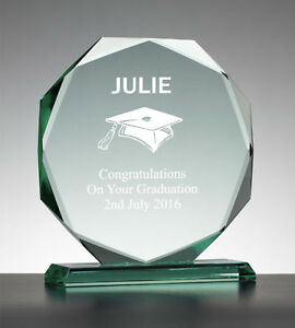 Personalised Engraved Glass Octagon Award -  Graduation Exam Keepsake Gift
