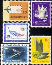 UN (NY) 1963 Air Mail/Planes/Aircraft/Birds/Transport/Space/Art 5v set (b7500c)