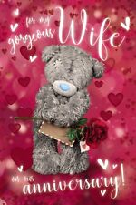 Wife Anniversary Me to You Bear With Rose and Letter 3d Holographic Card