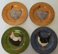 FOUR Sakura Country Quartet Rooster Salad Plates Warren Kimble Brandon House