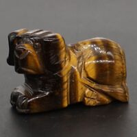 "1.5"" Natural Gemstone Yellow Tiger Eye Hand-Carved Dog Statue Home Office Decor"