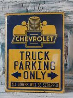 """Chevrolet Chevy Truck Parking Only 9X12"""" Embossed Metal Tin Sign Vintage Garage"""