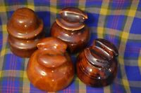Lot of 4 Vintage Unmarked Brown Glaze Ceramic Insulalors-Different Styles