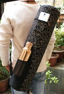 New Indian Black & Gold Yoga Mat Bags With Free Copper 1 Ltr. Pure Water Bottle