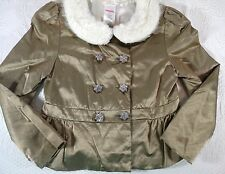 Gymboree Gold Bronze Satin Faux Fur Collar Ruffled Peplum Jacket Bling Size 6 G6