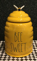 """New Rae Dunn by Magenta """"BEE SWEET""""Yellow Beehive Large Cookie Jar Canister VHTF"""