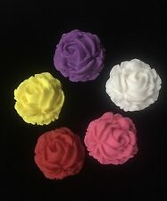 12 X Edible Rose Large Flower Cake Cupcake Decorations Toppers You Choose Colour