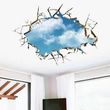 3D Blau Himmel Weiße Wolken Wand Aufkleber Wandtattoo DIY Fensteraufkleber