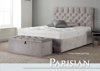 Parisian High Quality Fabric Bed 3FT 4FT6 5FT 6FT Headboard + Colour Options