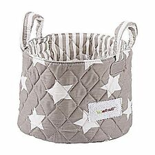 Minene Small Grey & White Stars Fabric Storage Basket Organiser With Handles