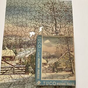 Tuco Deluxe Picture Puzzle Currier Ives New England Winter Scene Vintage 16x20