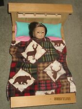 """Wildlife/Plaid Fleece Blanket for 18"""" Doll Clothes American Girl"""