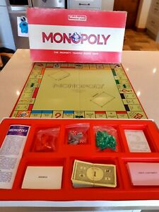 Monopoly Board Game Original Classic Vintage Red Box Edition  1972 Waddingtons