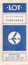LOT POLISH AIRLINES PRELIMINARY TIMETABLE WINTER 1968/69 POLSKIE LINIE LOTNICZE
