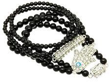 Crystal Hamsa w/Evil Eye,Tibetan Buddha, Elongated Bar 5pc Stretch Bracelet Set
