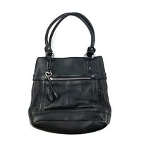 BRIGHTON Womens Black Pebbled Leather Soft Shoulder Purse Handbag Satchel