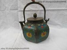 Chinese old Pure Bronze cloisonne Flower Six Edge Flagon Kettle Wine Tea Pot