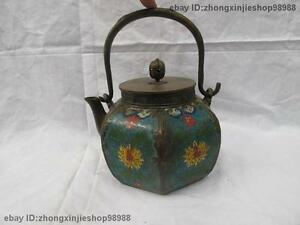 Chinese old Pure Bronze cloisonne Flower Six Edge Flagon Kettle Wine Tea Pot