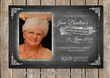 Chalkboard Photo Personalised Birthday Invitations - 21st 30th 40th 50th 60th
