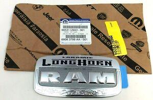 RAM 1500 2500 3500 Longhorn Laramie tailgate chrome Nameplate Emblem new OEM