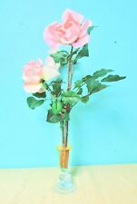 Pink Roses Clear Glass Vase Stems With Thorns Table Desk Home Office