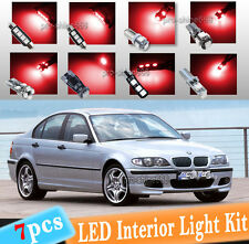 7-pc Xenon Red Canbus LED Interior Light Bulbs Package Kit Fit 1999-2005 BMW E46