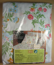 "Twin Fitted Sheet - Sears - New in Pkg - Pink Gold Blue Flowers - ""Garden Party"""