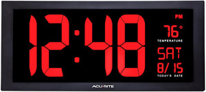 """AcuRite Large 18"""" Digital LED Oversized Wall Clock with Date, Temperature and"""