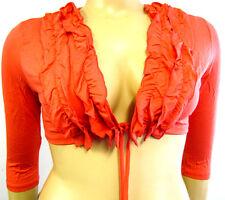 Camiseta De Mujer Bolero Chaqueta Corta coral rojo 3/4 Brazo Viscosa Elastizados