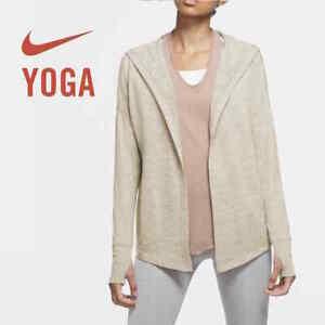 Nike Yoga Women's Hooded Sweater Light Heather Brown size S Small M Medium