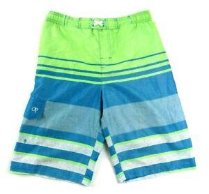 OP Mens Board Shorts Swimwear, Sz XXL, Green/Blue Striped, Mesh Lined MJ1