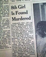 MICHIGAN MURDERS Ypsilanti Ripper Serial Killer Last Victim Found 1969 Newspaper