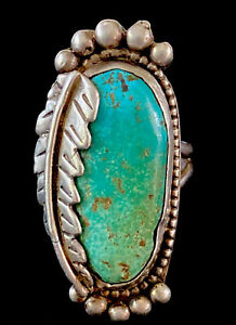 SPECTACULAR OLD PAWN NAVAJO STERLING SILVER LARGE ROYSTON TURQUOISE RING Sz 13.5
