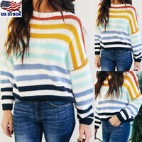 Womens Rainbow Striped Sweater Tops Blouse Casual Long Sleeve Pullover Jumper US
