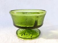 Event Decor Vintage Green Glass Footed Pedestal Compote w/ Textured Grass Design