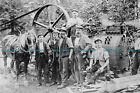 F000968 Photo of workers with Brown and May steam engine and working horse. 1900