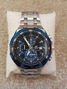 Casio Edifice Mens Steel Chronograph Watch EF-539 BLUE - NEW - *SMALL FAULT
