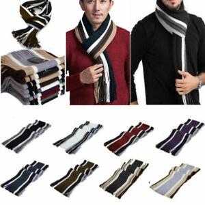 Mens Womens Shawl Cashmere Scarf Winter Warm Soft Striped Tassel Neck Wrap Stole