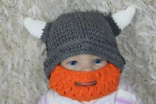 Knit Crochet Infant Baby Child Kids Grey Viking Full Beard Hat Cap Beanie 0-5T