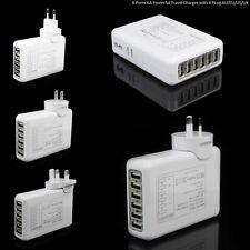 6 puertos 6Amp Usb Adaptador Fuente de pared Cargador de viaje Multi UK/AU/US/EU enchufe blanco