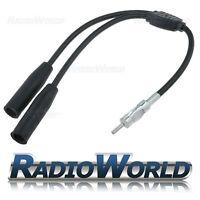 Dual Car Aerial Antenna Splitter Adaptor Lead 1 Male DIN to 2 Female DIN