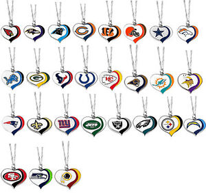 glitter heart necklace swirl charm NFL Pick your team