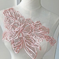 Embroidery Lace Applique Patches Sequins Bodice DIY Wedding Dress Gown 1 Pc