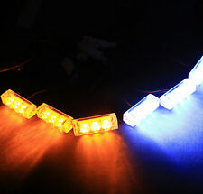 18 LED / 6 Modules Emergency Amber / White Strobe Front Grille Lights Tow